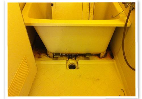 浴槽のエプロン内部清掃前